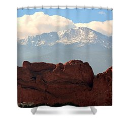 Kissing Camels Against Pikes Peak Shower Curtain by Clarice  Lakota