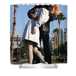 Kissing Sailor - The Kiss - Sarasota Shower Curtain by Christiane Schulze Art And Photography