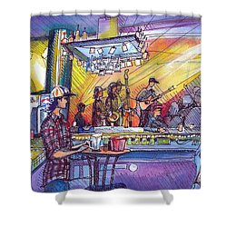Shower Curtain featuring the painting Kitchen Dwellers  by David Sockrider
