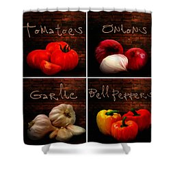 Kitchen Ingredients Collage II Shower Curtain by Lourry Legarde