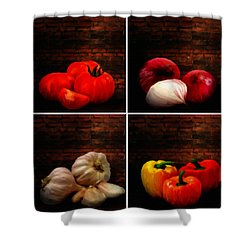Kitchen Ingredients Collage Shower Curtain by Lourry Legarde