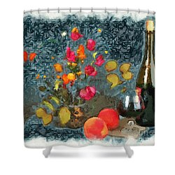 Kitchen - Peaches And Wine Painting  Shower Curtain