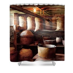 Kitchen - Storage - The Grain Cellar  Shower Curtain by Mike Savad