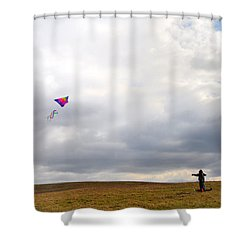 Kite Flying Shower Curtain by Bill Cannon