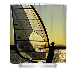 Shower Curtain featuring the photograph Kiteboarder Sunset by Sonya Lang