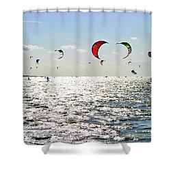 Kitesurfing In The Sun Shower Curtain by Maja Sokolowska