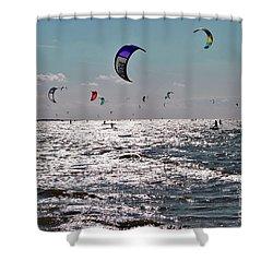 Kitesurfing Shower Curtain by Maja Sokolowska