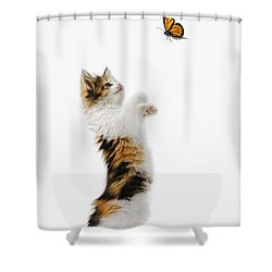 Kitten And Monarch Butterfly Shower Curtain by Wave Royalty Free