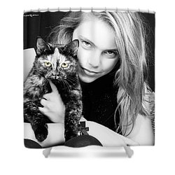 Shower Curtain featuring the photograph Kitten Eyes by Stwayne Keubrick