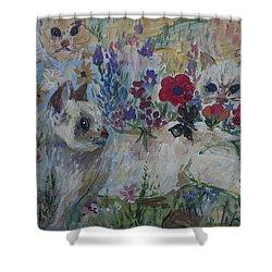 Kittens In Wildflowers Shower Curtain by Avonelle Kelsey