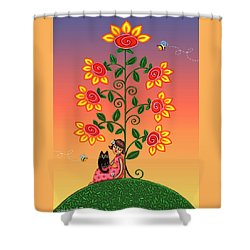 Kitty And Bumblebees Shower Curtain by Victoria De Almeida
