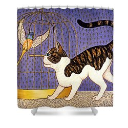 Kitty And Parakeet Shower Curtain by Linda Mears