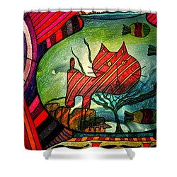 Kitty In A Fish Bowl - Abstract Cat Shower Curtain