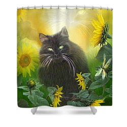 Kitty In The Sunflowers Shower Curtain by Carol Cavalaris