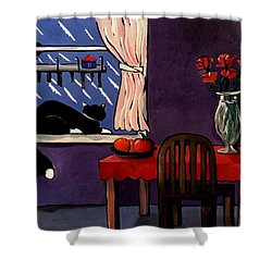 Shower Curtain featuring the painting Kitty Over Manhattan by Lance Headlee