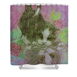 Kitty Reflection Shower Curtain by Christy Saunders Church