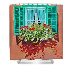 Shower Curtain featuring the painting Kitzbuhel Window by Mary Ellen Mueller Legault
