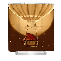 Kiwi Bird Kev - Fly Me To The Moon - Sepia Shower Curtain