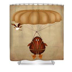 Kiwi Bird Kev Parachuting Shower Curtain by Marlene Watson