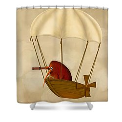 Kiwi Bird Kev's Airship Shower Curtain