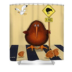 Kiwi Birds Crossing Shower Curtain