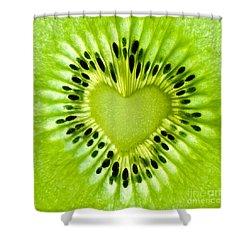 Kiwi Heart Shower Curtain