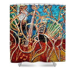 Klezmer Music Band Shower Curtain by Leon Zernitsky