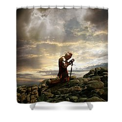 Kneeling Knight Shower Curtain