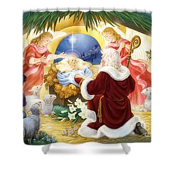 Kneeling Santa Nativity Shower Curtain