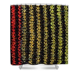 Shower Curtain featuring the photograph Knitted Striped Scarf by Les Palenik