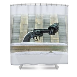Knotted Gun Sculpture At The United Nations Shower Curtain