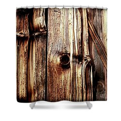 Knotty Wood Grain Shower Curtain by Janine Riley