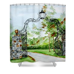 Shower Curtain featuring the painting Knox Estate by Ellen Canfield