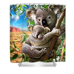 Koala And Cub Shower Curtain by Adrian Chesterman