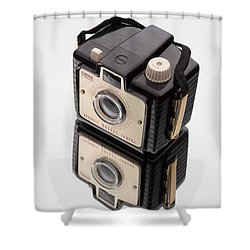 Kodak Brownie Bullet Camera Mirror Image Shower Curtain by Edward Fielding