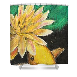 Shower Curtain featuring the painting Koi And The Lotus Flower by Jeanne Fischer