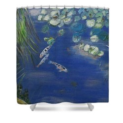Shower Curtain featuring the painting Koi At Red Butte Gardens by Linda Feinberg