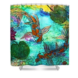 Koi Eating Apple Snails Shower Curtain by Janet Immordino