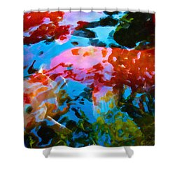Shower Curtain featuring the painting Koi Fish by Joan Reese