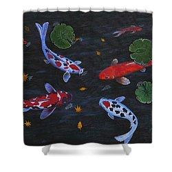 Koi Fishes Original Acrylic Painting Shower Curtain