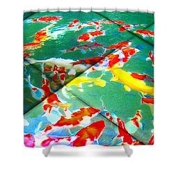 Shower Curtain featuring the digital art Koi Mosaic II by Manny Lorenzo