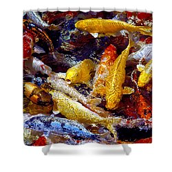 Shower Curtain featuring the photograph Koi Pond by Marie Hicks