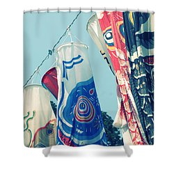 Shower Curtain featuring the photograph Koinobori Flags by Rachel Mirror