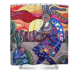 Kokopelli  Shower Curtain by Megan Walsh