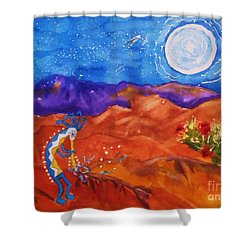 Kokopelli Playing To The Moon Shower Curtain by Ellen Levinson
