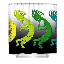 Kokopelli Rainbow In Moonlight Shower Curtain