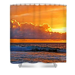 Shower Curtain featuring the photograph Kona Golden Sunset by David Lawson