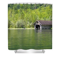 Konigsee Boathouse Shower Curtain by Jeremy Voisey