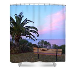 Kool Breeze Bench At Sunrise Shower Curtain by Jeff at JSJ Photography