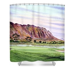 Shower Curtain featuring the painting Koolau Golf Course Hawaii 16th Hole by Bill Holkham